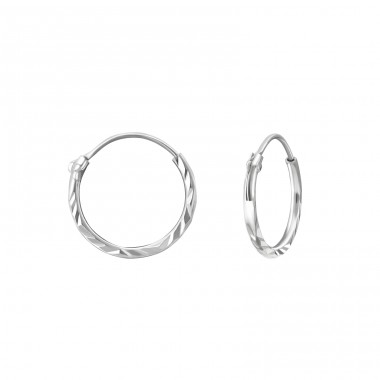Silver Diamond Cut 12mm Ear Hoops - 925 Sterling Silver Ear Hoops A4S40657