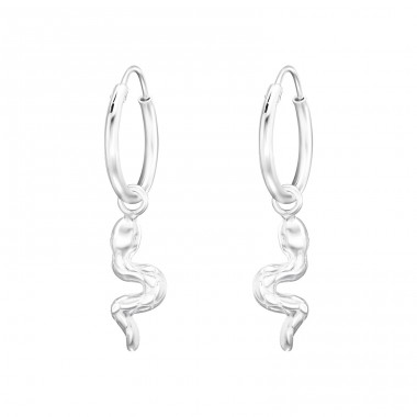 Hanging Snake - 925 Sterling Silver Ear Hoops A4S41465