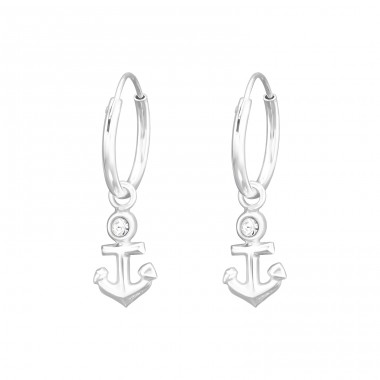Hanging Anchor - 925 Sterling Silver Ear Hoops A4S41564