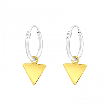 Hanging golden Triangle - 925 Sterling Silver Ear Hoops A4S42384