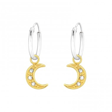 Golden Moon with crystals - 925 Sterling Silver Ear Hoops A4S42586