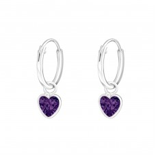 Hanging Heart - 925 Sterling Silver Ear Hoops A4S4662