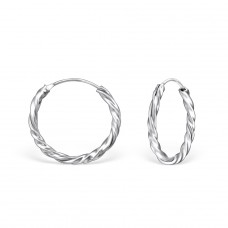 18mm Twisted - 925 Sterling Silver Ear Hoops A4S558