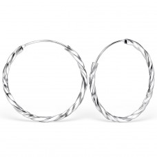 30mm Twisted bali hoop - 925 Sterling Silver Ear Hoops A4S560