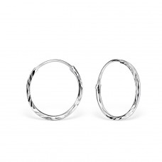 Twisted - 925 Sterling Silver Ear Hoops A4S6811