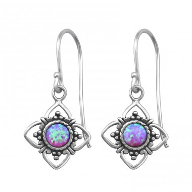 Flower Opal - 925 Sterling Silver Earrings with semi-precious stones & Opal A4S23629