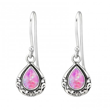 Tear Drop Opal - 925 Sterling Silver Earrings with semi-precious stones & Opal A4S23631