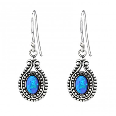 Oval Opal - 925 Sterling Silver Earrings with semi-precious stones & Opal A4S23633