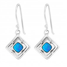 Square Opal - 925 Sterling Silver Earrings with semi-precious stones & Opal A4S23635