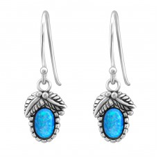 Oval Opal - 925 Sterling Silver Earrings with semi-precious stones & Opal A4S23639