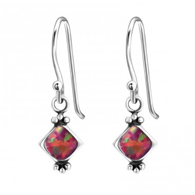 Square Synthetic Opal - 925 Sterling Silver Earrings with semi-precious stones & Opal A4S23641