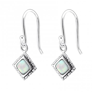 Square Opal - 925 Sterling Silver Earrings with semi-precious stones & Opal A4S23643