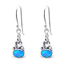 Oval Opal - 925 Sterling Silver Earrings with semi-precious stones & Opal A4S23645