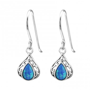 Tear Drop Opal - 925 Sterling Silver Earrings with semi-precious stones & Opal A4S23647