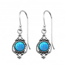 Marquise Opal - 925 Sterling Silver Earrings with semi-precious stones & Opal A4S23649