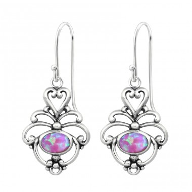 Flower Opal - 925 Sterling Silver Earrings with semi-precious stones & Opal A4S23651