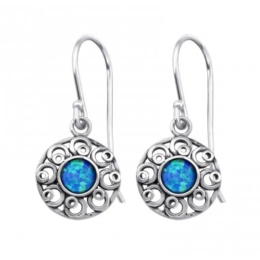 Flower Opal - 925 Sterling Silver Earrings with semi-precious stones & Opal A4S23653