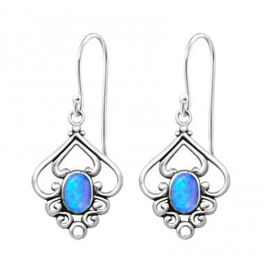 Flower Opal - 925 Sterling Silver Earrings with semi-precious stones & Opal A4S23655