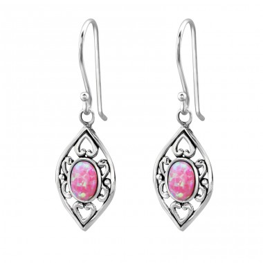 Marquise Opal - 925 Sterling Silver Earrings with semi-precious stones & Opal A4S23657