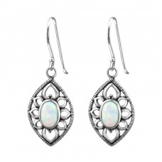 Marquise Opal - 925 Sterling Silver Earrings with semi-precious stones & Opal A4S23659
