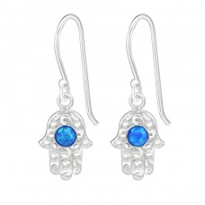 Hamsa - 925 Sterling Silver Earrings with semi-precious stones & Opal A4S26633
