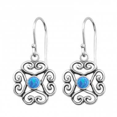 Flower Opal - 925 Sterling Silver Earrings with semi-precious stones & Opal A4S26809