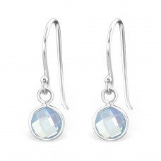 Round - 925 Sterling Silver Earrings with semi-precious stones & Opal A4S27976