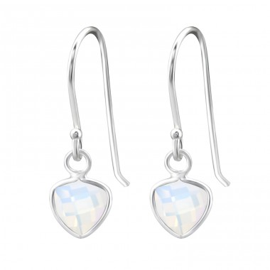Triangle - 925 Sterling Silver Earrings with semi-precious stones & Opal A4S27978