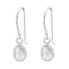 Oval - 925 Sterling Silver Earrings with semi-precious stones & Opal A4S27979