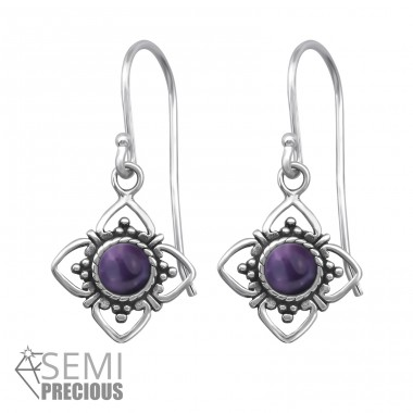 Oxidized - 925 Sterling Silver Earrings with semi-precious stones & Opal A4S30294