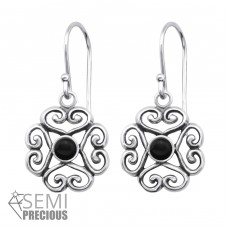 Filigree - 925 Sterling Silver Earrings with semi-precious stones & Opal A4S30295