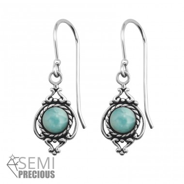 Antique - 925 Sterling Silver Earrings with semi-precious stones & Opal A4S30296