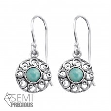 Filigree - 925 Sterling Silver Earrings with semi-precious stones & Opal A4S30297