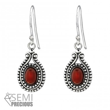 Bali Oval - 925 Sterling Silver Earrings with semi-precious stones & Opal A4S31077