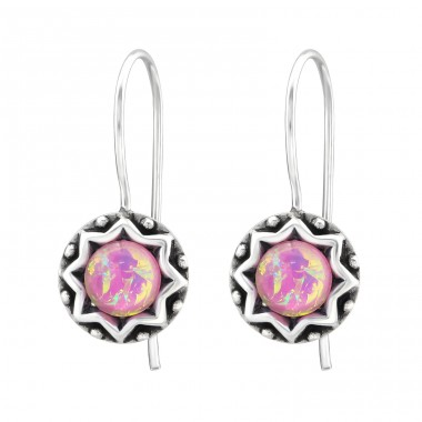Round - 925 Sterling Silver Earrings with semi-precious stones & Opal A4S31223