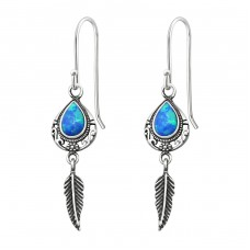 Teardrop Opal With Hanging Feather - 925 Sterling Silver Earrings with semi-precious stones & Opal A4S31391