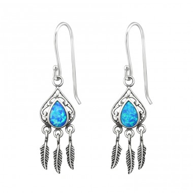 Teardrop Opal With Hanging Feather - 925 Sterling Silver Earrings with semi-precious stones & Opal A4S31393