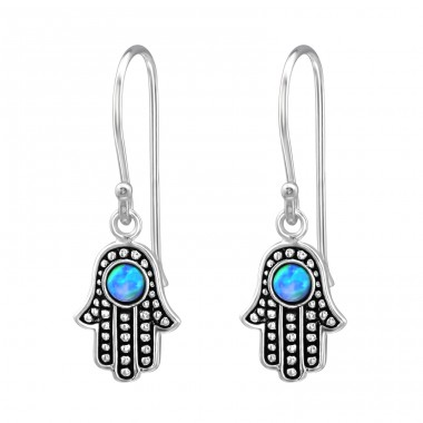 Hamsa Opal - 925 Sterling Silver Earrings with semi-precious stones & Opal A4S32042