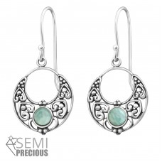 Bali - 925 Sterling Silver Earrings with semi-precious stones & Opal A4S32045