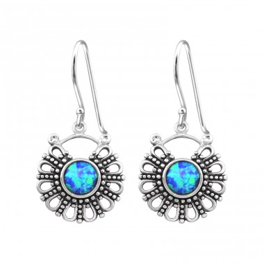 Bali Opal - 925 Sterling Silver Earrings with semi-precious stones & Opal A4S32048