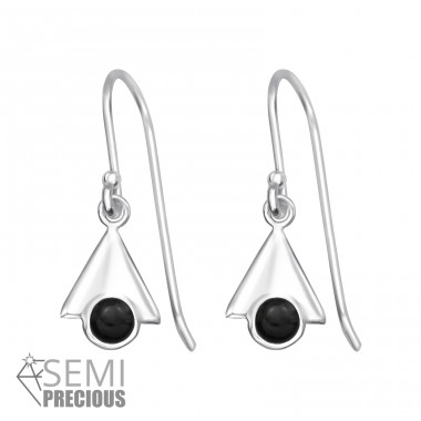 Triangle - 925 Sterling Silver Earrings with semi-precious stones & Opal A4S32052