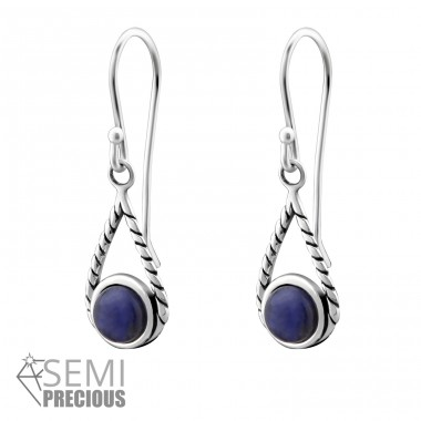 Tear Drop - 925 Sterling Silver Earrings with semi-precious stones & Opal A4S32409