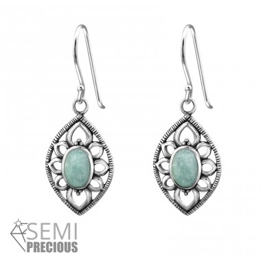 Marquise - 925 Sterling Silver Earrings with semi-precious stones & Opal A4S32412