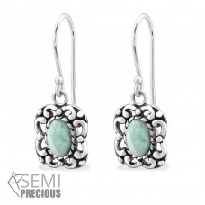 Square - 925 Sterling Silver Earrings with semi-precious stones & Opal A4S32413
