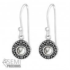 Oxidized - 925 Sterling Silver Earrings with semi-precious stones & Opal A4S33840