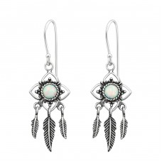 Flower Earring Opal With Hanging Feather - 925 Sterling Silver Earrings with semi-precious stones & Opal A4S34893