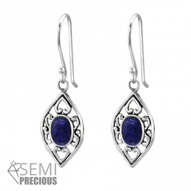 Marquise - 925 Sterling Silver Earrings with semi-precious stones & Opal A4S35231