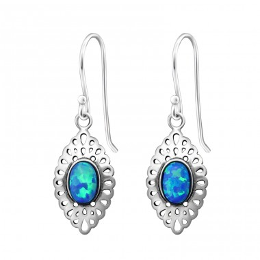 Marquise - 925 Sterling Silver Earrings with semi-precious stones A4S36122