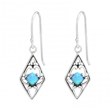 Diamond Shaped - 925 Sterling Silver Earrings with semi-precious stones A4S37118