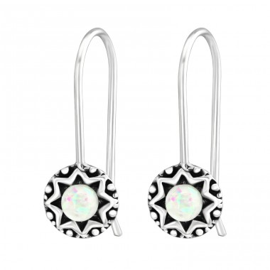 Oxidized - 925 Sterling Silver Earrings with semi-precious stones & Opal A4S37967